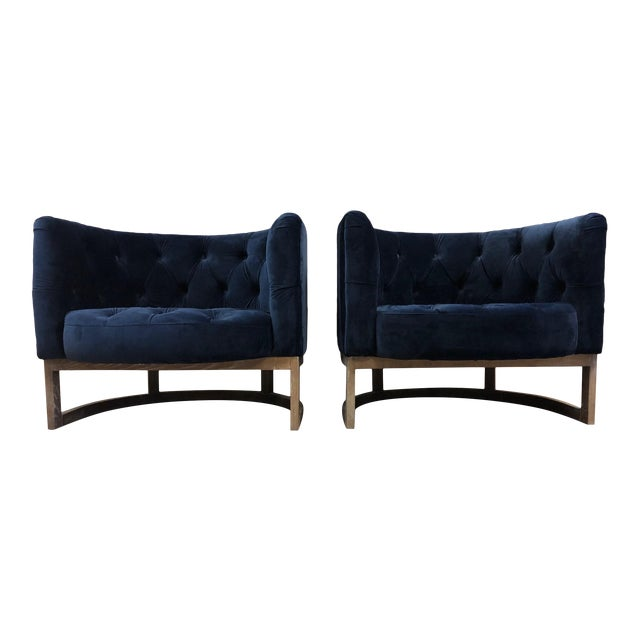 Pair Modern Cerused Lounge Chairs For Sale