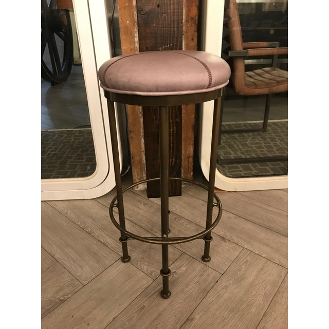 Early 21st Century Rustic Gray Leather Bar Stool For Sale - Image 5 of 5