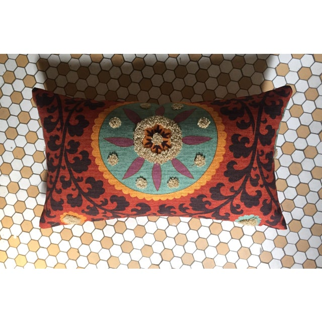 Bohemian Embroidered Orange Pillow Cover - Image 4 of 9