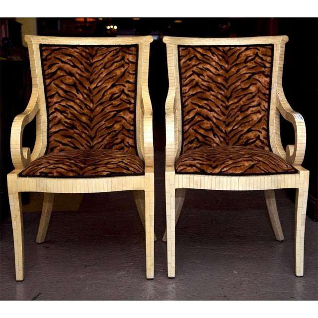 Enrique Garcel Off White Bone Arm Chairs, Signed-Pair Of. - Image 3 of 10
