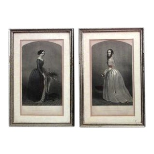 American Victorian prints of 19th Century ladies of fashion in green painted and silver gilt frames- Set of 6 For Sale