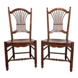 Image of Nichols & Stone Cherry Wheat Sheaf Dining Chairs - Pair 1 For Sale