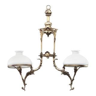 Victorian Bronze Scroll Billiard Fixture For Sale