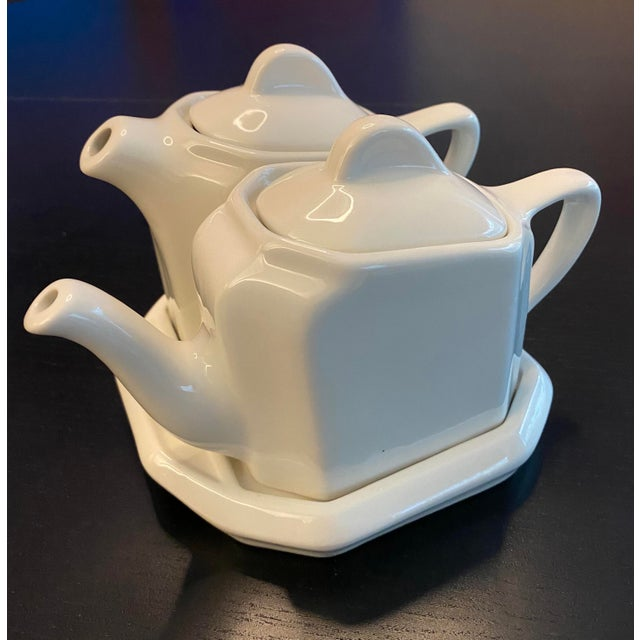 Tea For Two Twin Tea Set With Matching Trivet by Hall Pottery - 5 Piece Set For Sale - Image 12 of 12