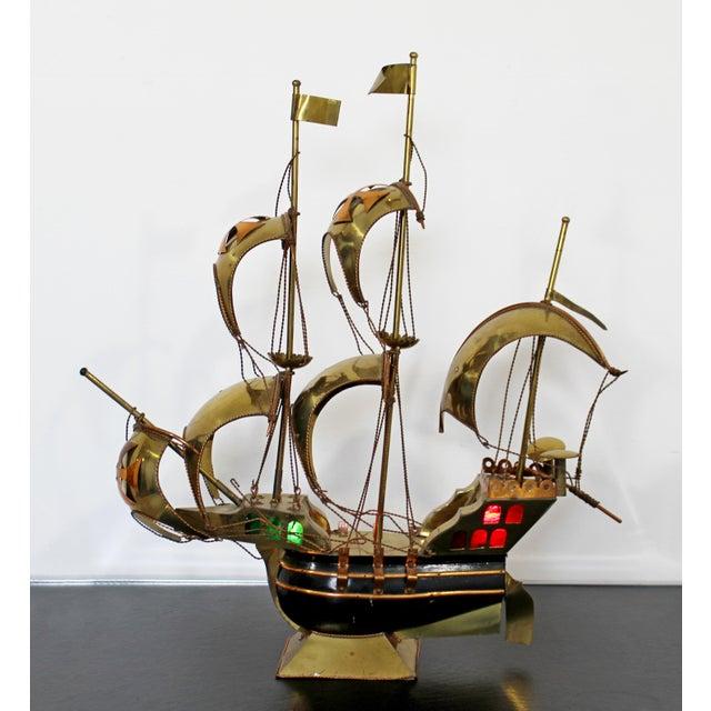 Mid Century Modern Light Up Brass Copper Sailing Sculpture Bijan Jere Era 1970s For Sale - Image 9 of 9