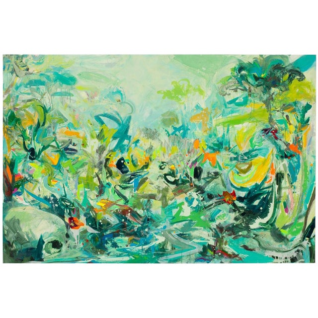 "Stephens Mixed Media Painting ""Seminole Creek"", Contemporary Colorful Abstracted Landscape For Sale"