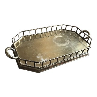 1960s Brass Bamboo Tray For Sale