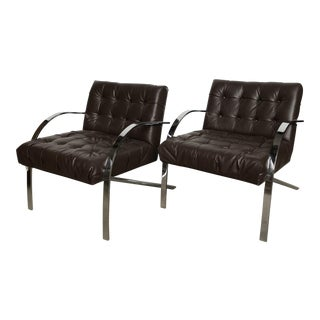 Paul Tuttle Arco Style Mid-Century Chrome Arm Lounge Chairs - a Pair