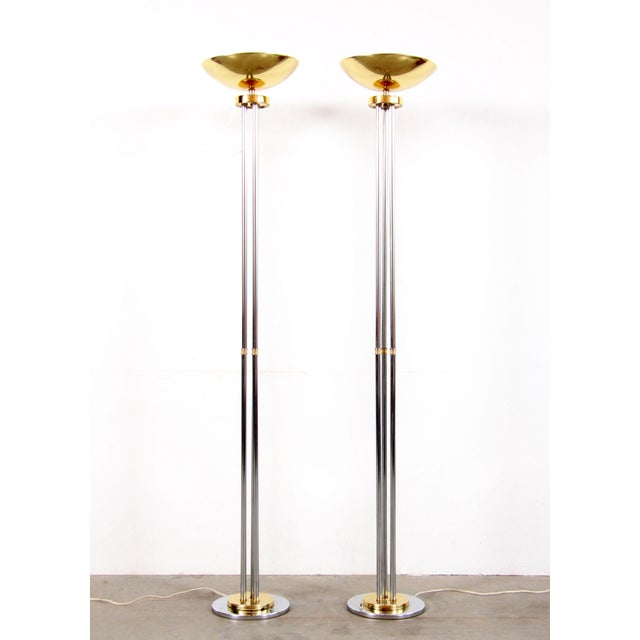 Mid-Century Modern Vintage Hollywood Regency Chrome & Brass Torchiere Floor Lamps - a Pair For Sale - Image 3 of 11