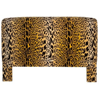 Leopard Velvet Upholstered Queen Headboard For Sale