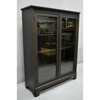 Antique Double Glass Door Alligatored Mahogany Bookcase Preview