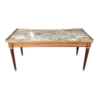French Louis XVI Walnut Marble Top Coffee Table For Sale