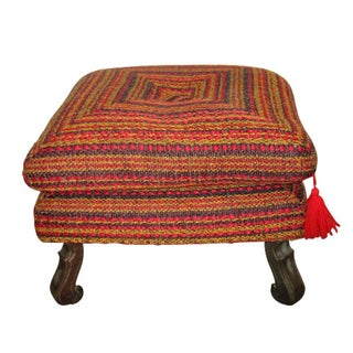 Vintage Mid Century Colorful Upholstered Ottoman For Sale