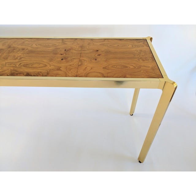 Brass & Burlwood Console Table For Sale In Miami - Image 6 of 13