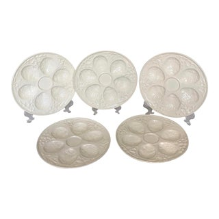 Vintage Cream Embossed Czechoslovakia Oyster Plates - Set of 5 For Sale