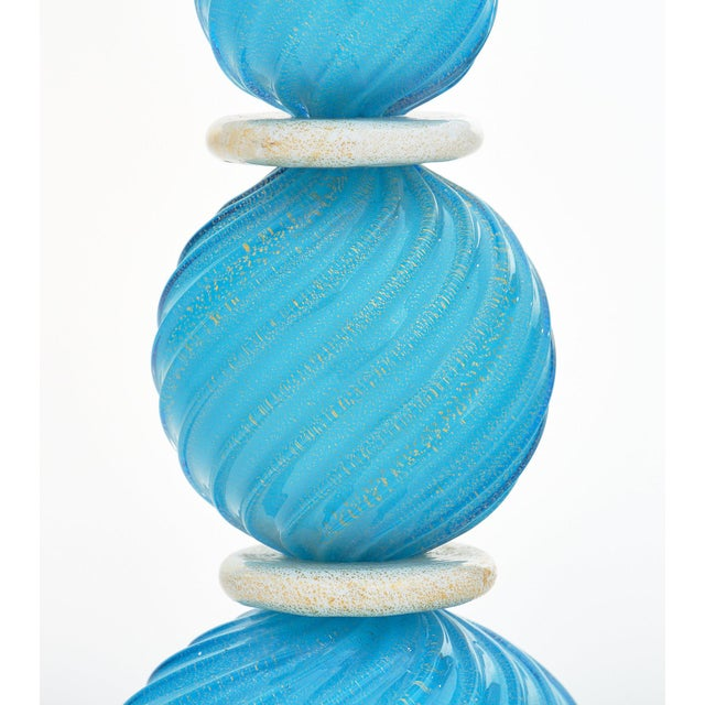 1980s Murano Glass Turquoise Lamps For Sale - Image 5 of 10