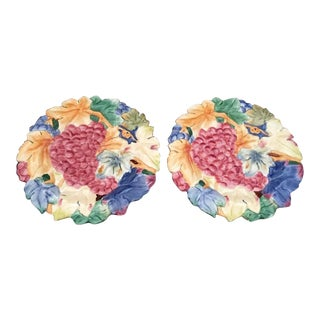 Fitz & Floyd Majolica Canape Plates - a Pair For Sale