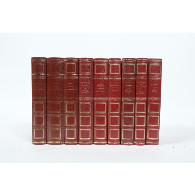 French French Leather Bound Books S/9 For Sale - Image 3 of 3