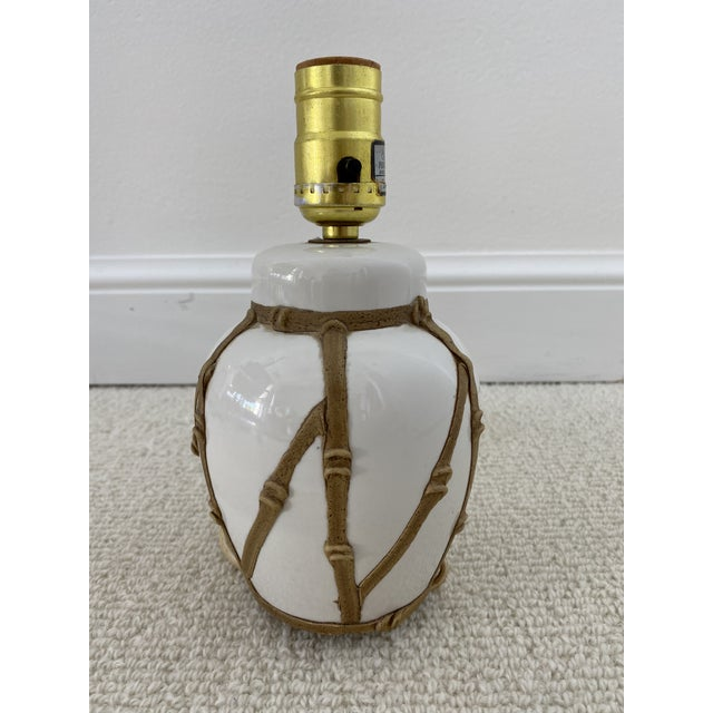 Mid-Century Modern Hollywood Regency Faux Bamboo Petite Lamp For Sale - Image 3 of 5