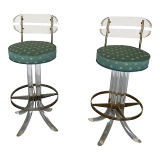 1970's Vintage Lucite Tusk Barstools- A Pair For Sale