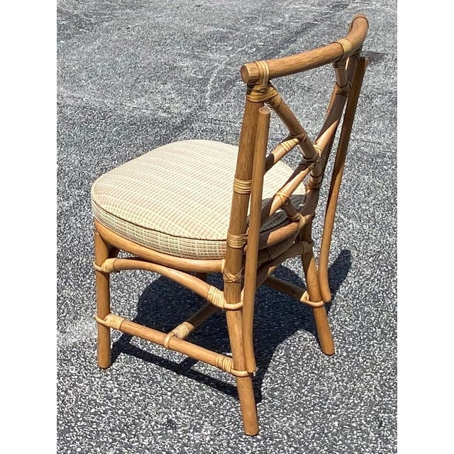 Chinese Vintage Coastal Ficks Reed Chinese Chippendale Bamboo Dining Chairs - Set of 8 For Sale - Image 3 of 13
