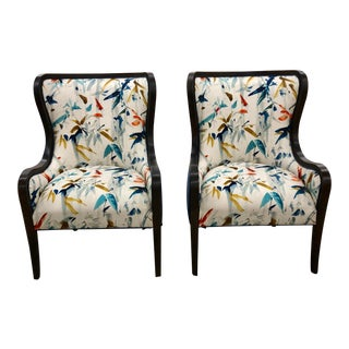 Contemporary Patterned Wingback Chairs - a Pair