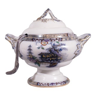19th Century English Blue Flo Tureen With Ladle For Sale