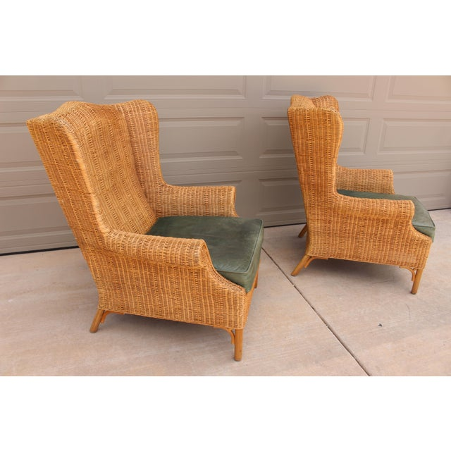 1970s 1970s Vintage Henry Link Woven Wicker Wingback Chairs- A Pair For Sale - Image 5 of 13