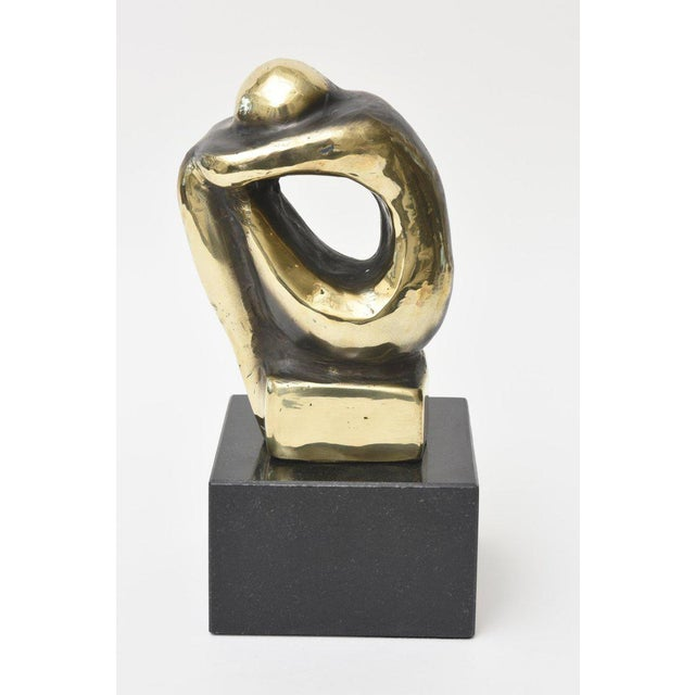 Abstract Polished Figurative Brass and Granite Seated Sculpture/Desk Accessory For Sale - Image 3 of 11