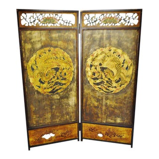 Antique Chinese Phoenix Design 2 Panel Folding Screen Room Divider For Sale