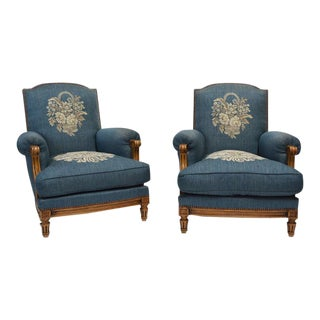 Exceptional 1940s French Club Chairs - A Pair For Sale