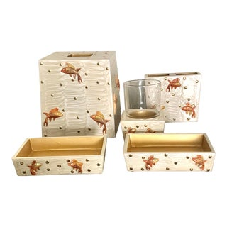 Mike and Ally Luxury Enameled Gilt Koi Fish Bathroom Set - Set of 6 For Sale