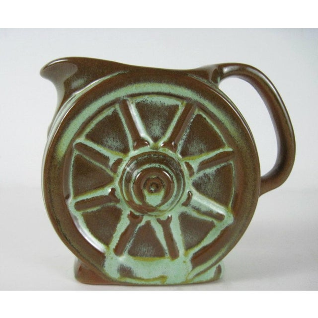 Ceramic Frankoma Prairie Green Wagon Wheel Coffee Serving Set For Sale - Image 7 of 11