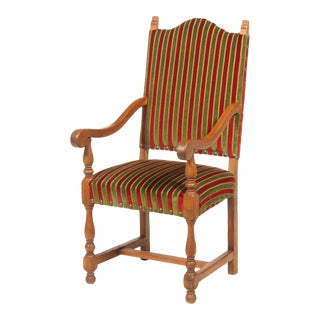 1930's Tuscan-Style Oak Armchair With Striped Upholstery For Sale