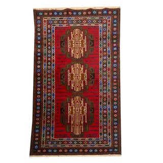 Vintage Traditional 'Baluch' Hand Knotted Bright Red Small Area Rug - 3′8″ × 6′7″ For Sale