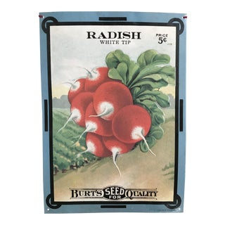 Vintage Burt's Seeds Radish Metal Sign