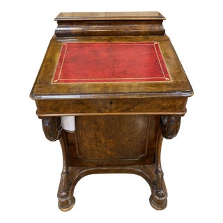 Flame Mahogany Pedestal Desk With Birds Eye Maple Interior For Sale