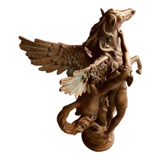 Vintage Classical Pegasus Bronze Statue For Sale