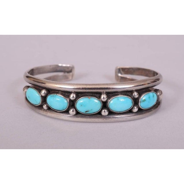 1980s Native American Silver and Turquoise Bracelet For Sale - Image 5 of 5