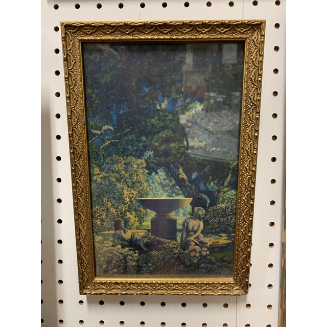 "1920s Vintage Maxfield Parrish Framed Original Cropped Calendar ""Reveries"" For Sale - Image 5 of 5"