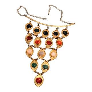 Vintage Gold Multi Color Glass Cabochon Bib Choker Statement Necklace Dangles 1970s For Sale