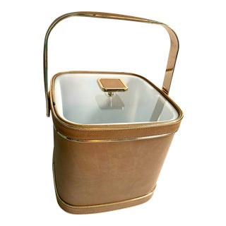 Vintage Mid-Century Modern Culver Tan Rose Gold Ice Bucket For Sale