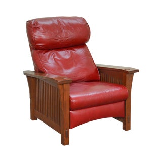 Stickley Mission Collection Oak Spindle Morris Red Leather Recliner Chair