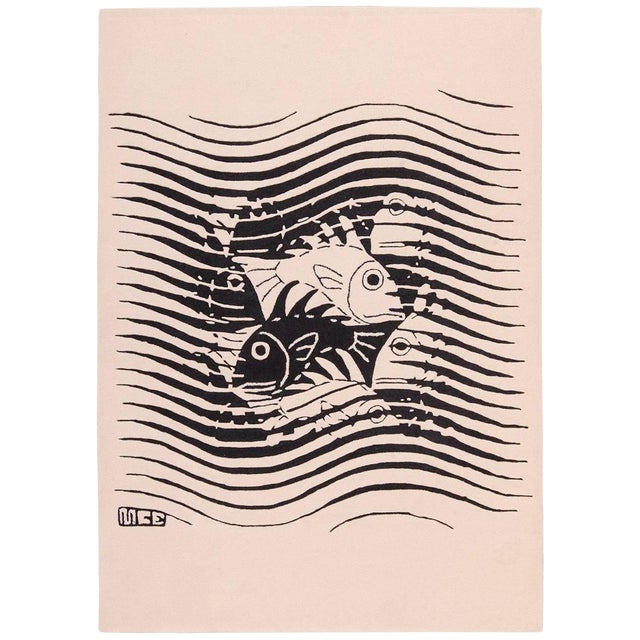 Vintage Maurits Escher Scandinavian Black and White Rug - 5′7″ × 8′ For Sale