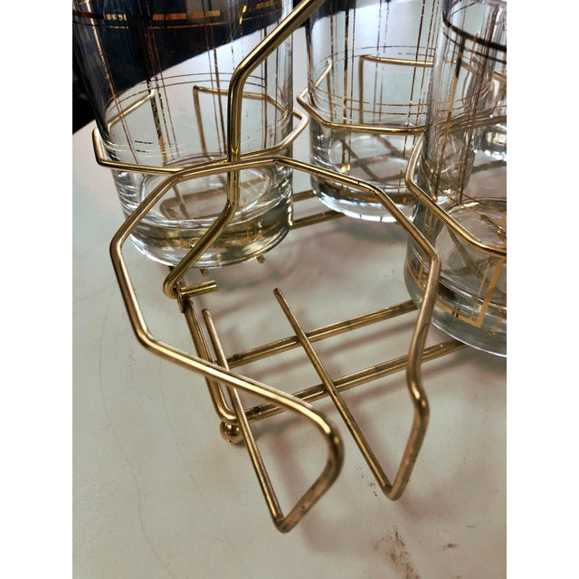 Mid 20th Century Vintage George Briard Gold Tone Rocks Glass Set With Caddy - 8 Pieces For Sale - Image 5 of 7