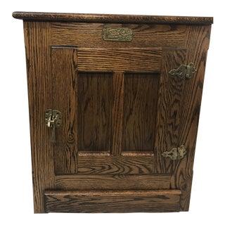 Vintage White Clad Oak Ice Box Cabinet For Sale