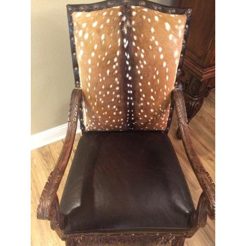 Lodge Axis Deer Hide & Leather Armchairs - Pair For Sale - Image 3 of 9