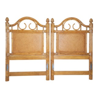 1990s Tommy Bahama Style Bamboo Wicker Rattan Twin Headboards - A Pair For Sale