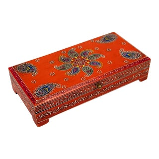 Orange Patterned Decorative Box For Sale