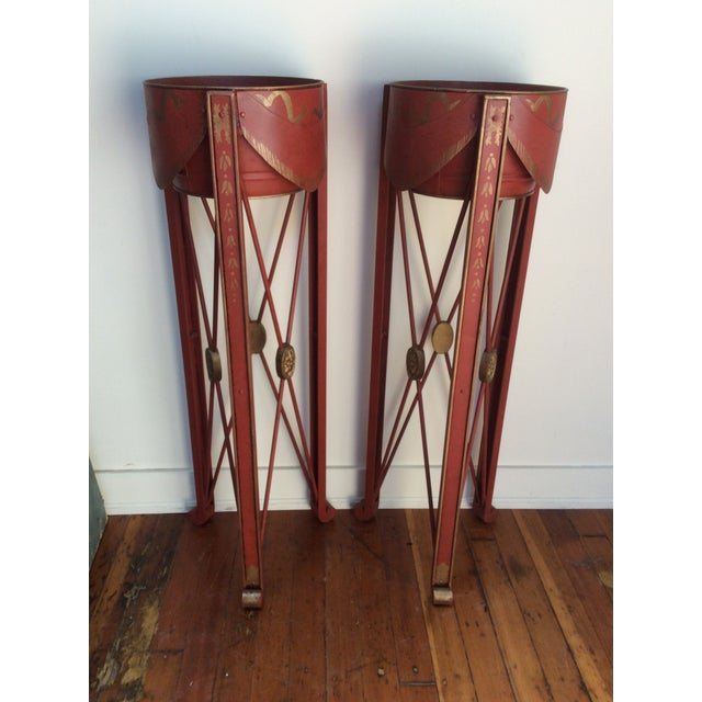 Campaign Painted Tole & Bronze Plant Stands - A Pair For Sale - Image 3 of 9